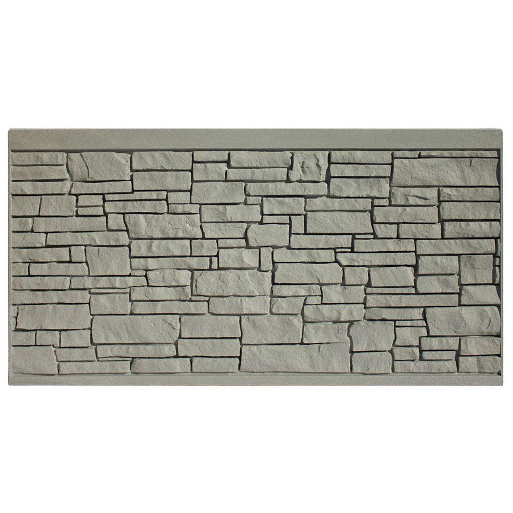 EcoStone 4 X 8  Fence Panel - Grey Granite