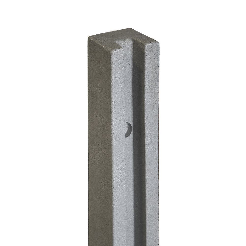 EcoStone 5 inch x 5 inch x 8-1/2 ft. Gray Composite Fence End Post