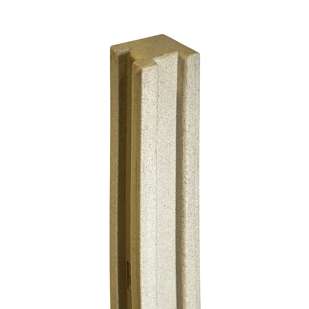 EcoStone 5 inch x 5 inch x 8-1/2 ft. Beige Composite Fence Corner Post