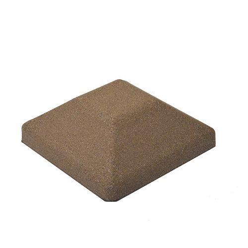Capuchon de poteau de clôture carré en composite brun de 5 po x 5 po