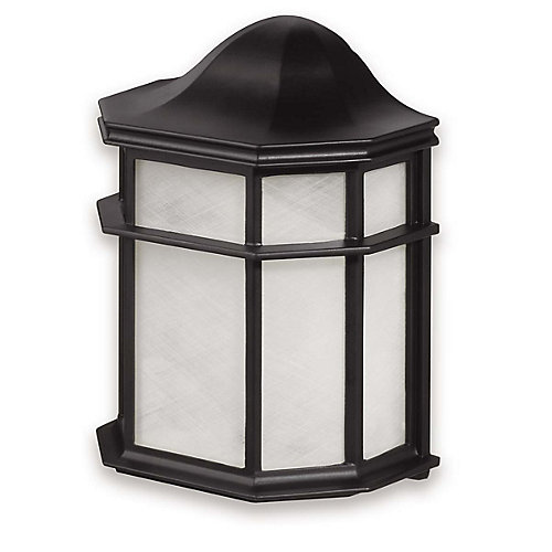 1-Light 60W Glossy Black Outdoor Wall Lantern with Frosted Glass Shade