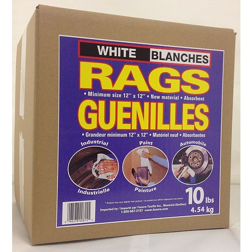 Guenilles Blanches boite de 10 lb