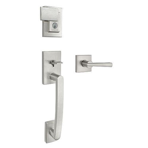 Brentridge/Vandagriff Satin Nickel Deadbolt with Lever Entry Door Handleset with SmartKey Technology