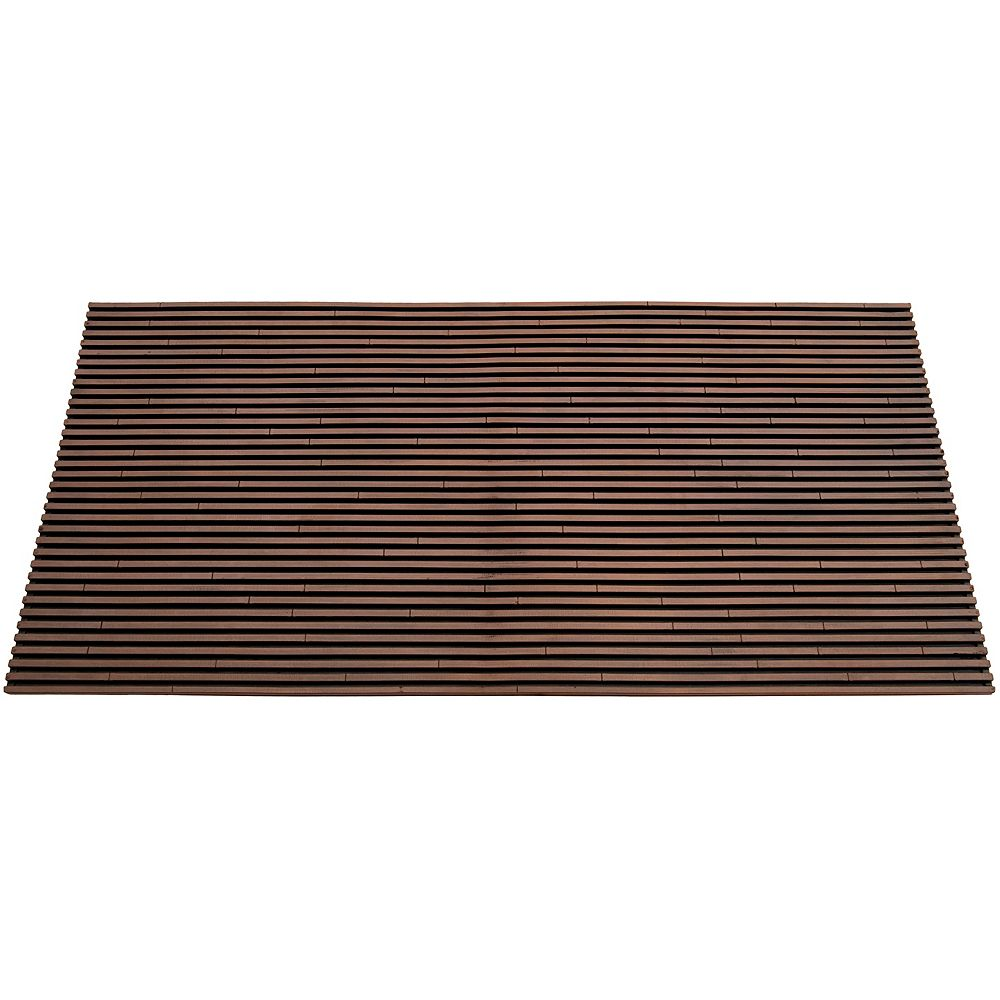 The FHE Group Paillasson d'intérieur/extérieur Slat, 1 pi 6 po x 2 pi 6 po, rectangulaire, brun