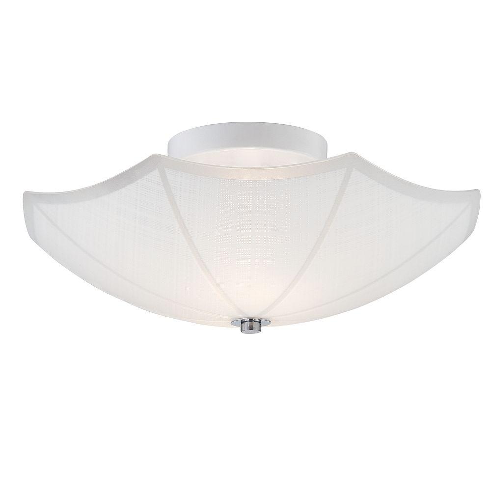 Hampton Bay Semi-plafonnier à 2lampes, 14po, fini blanc et accents chrome