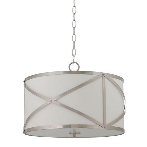 Luminaire suspendu, nickel brossé, 3ampoules, 60W, abat-jour en tissu blanc