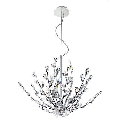 Luminaire suspendu Hetcherson, 5ampoules, 60W, ornementé de cristal
