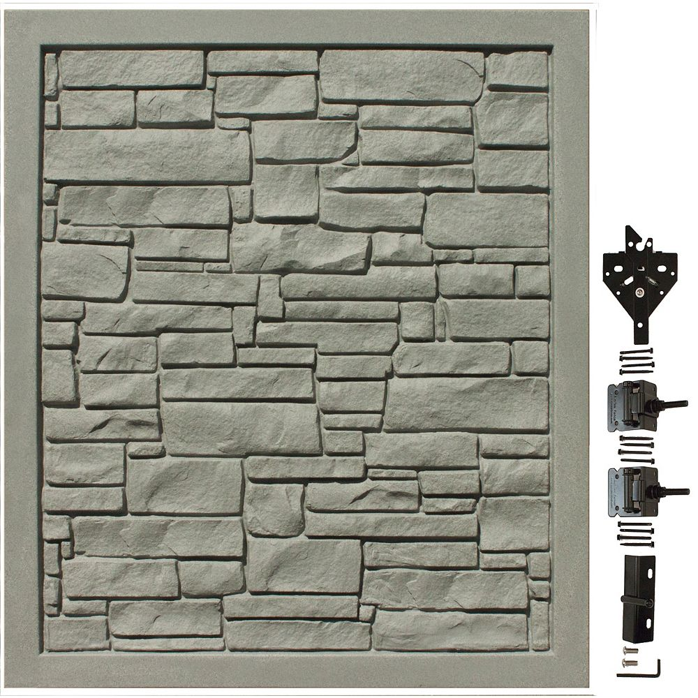 EcoStone 5 ft. W x 6 ft. H Grey Composite Privacy Fence Gate