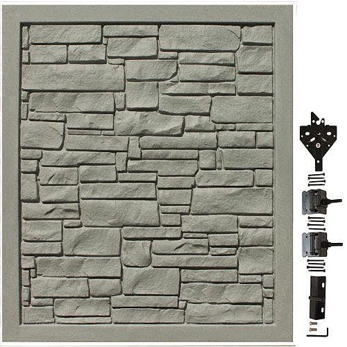 Barrière de protection de la vie privée en matériau composite gris de 5 pi L x 6 pi H