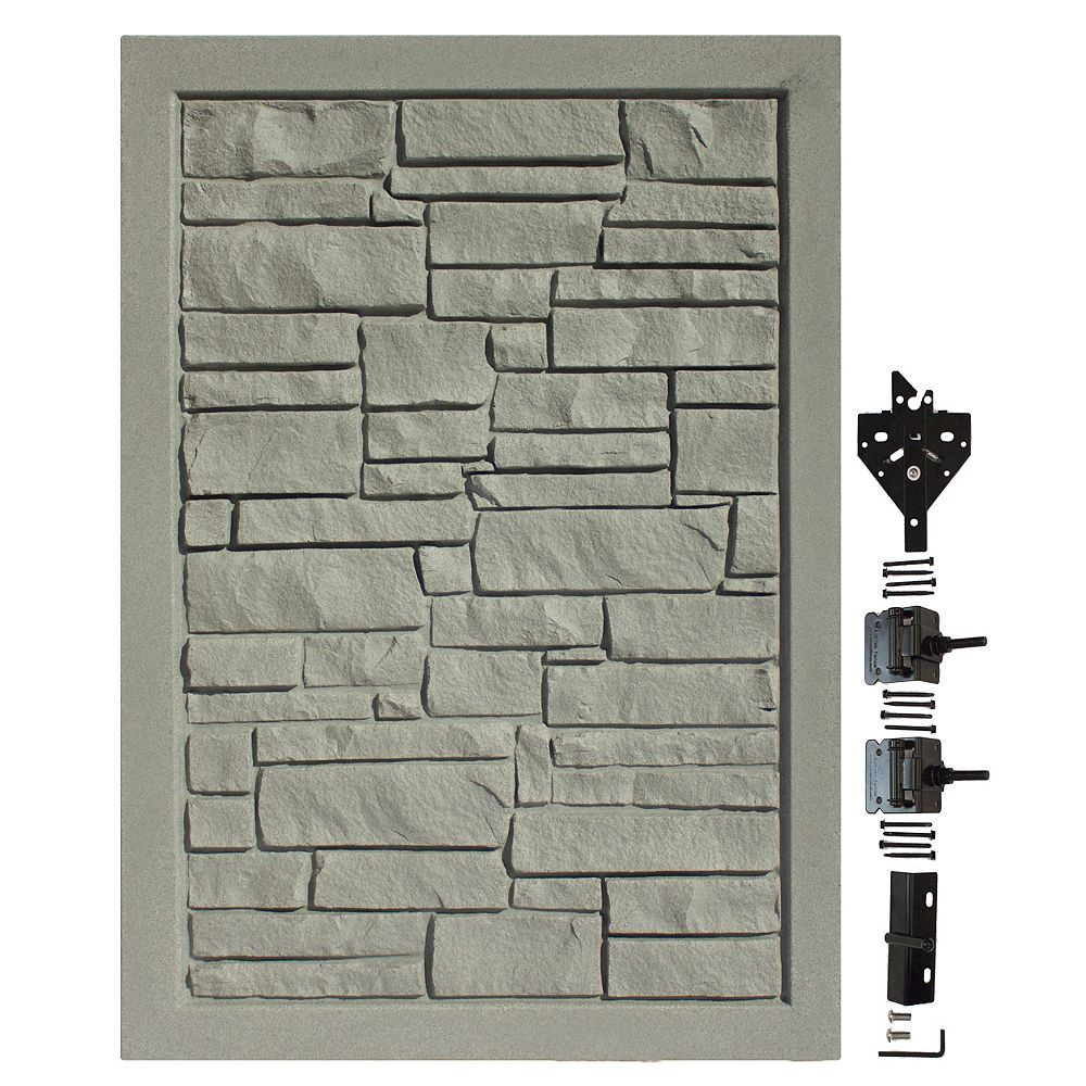 EcoStone 4 Ft. W X 6 Ft. H  Gray Composite Privacy Fence Gate