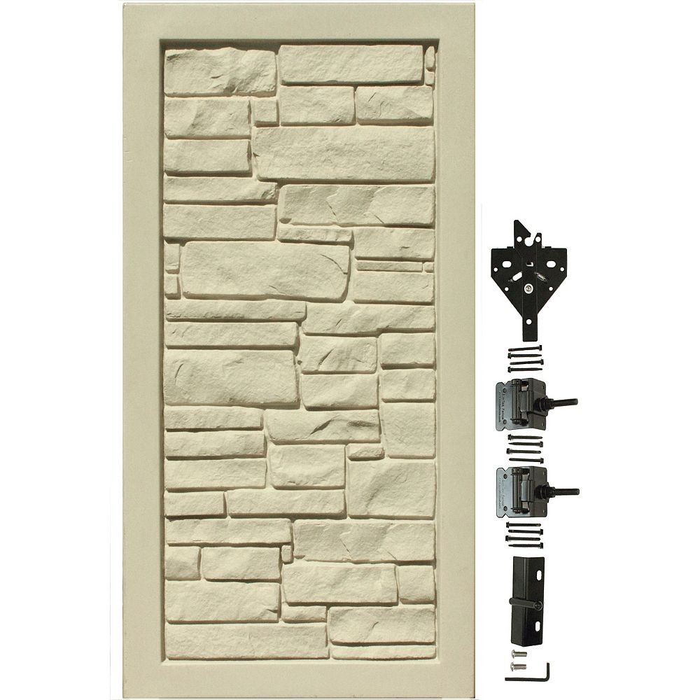 EcoStone 3 ft. W x 6 ft. H Beige Composite Privacy Fence Gate