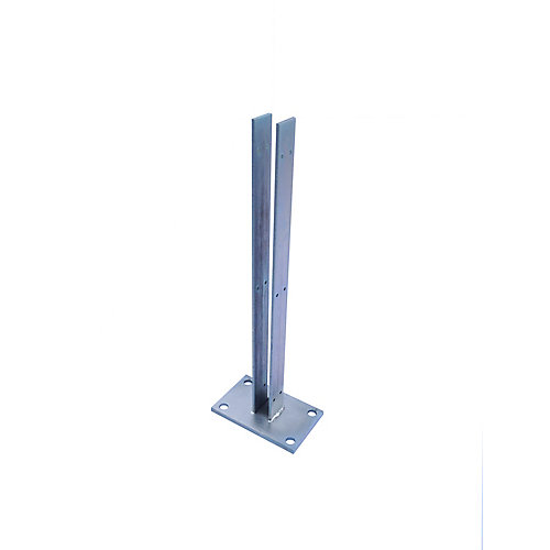 24 inch Zinc-Plated Galvanized Steel Line Fence Post Concrete Surface Mounting Bracket