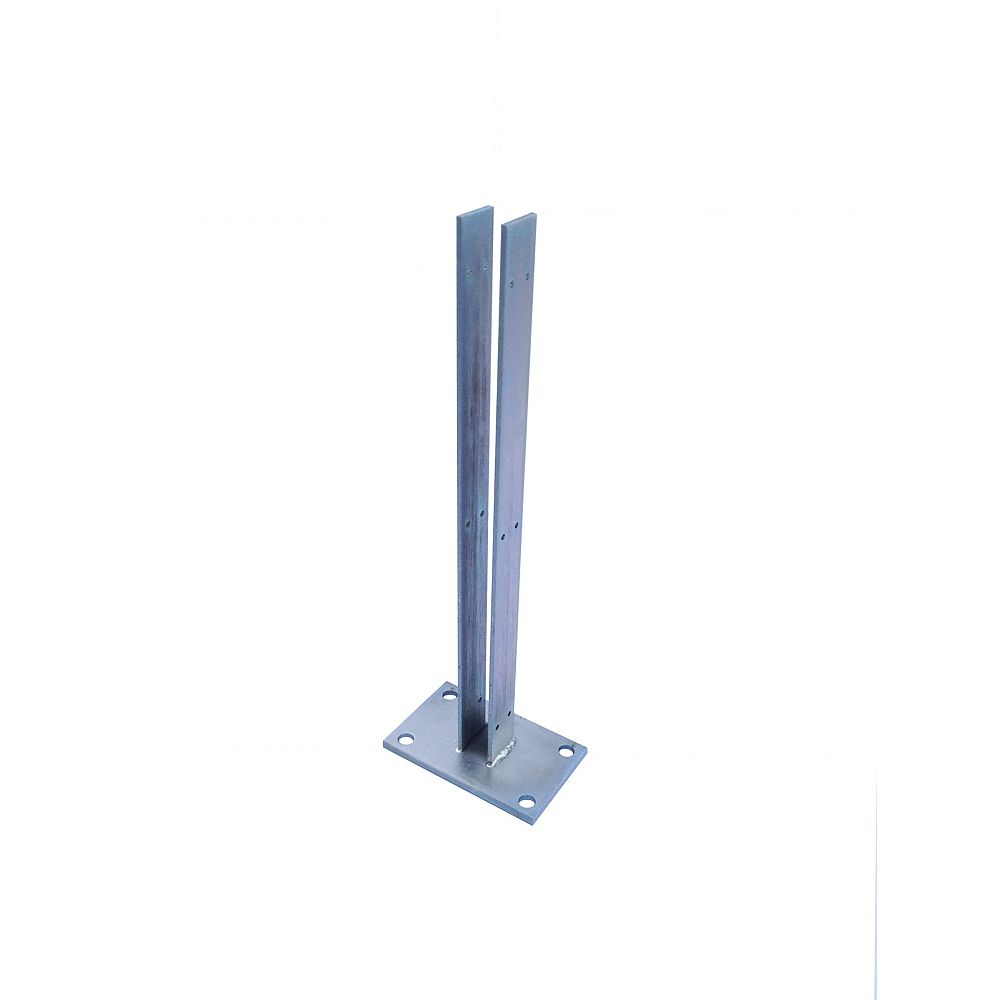 EcoStone 24 inch Zinc-Plated Galvanized Steel Line Fence Post Concrete Surface Mounting Bracket