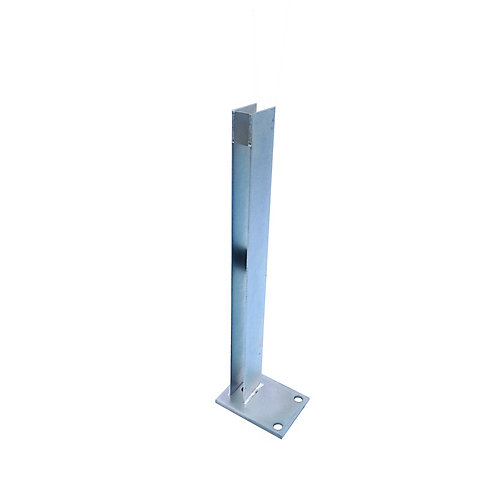 24 inch Zinc-Plated Galvanized Steel End Fence Post Concrete Surface Mounting Bracket