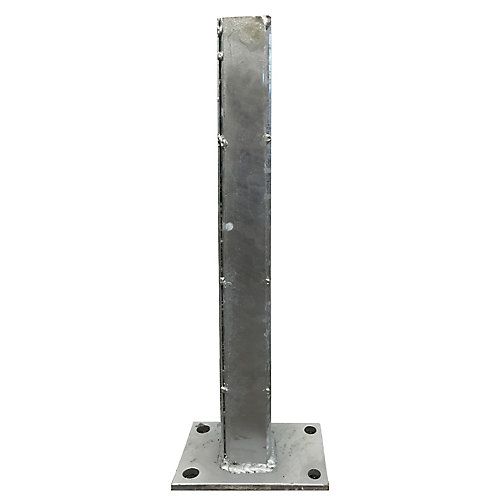 24 inch Zinc-Plated Galvanized Steel Gate Post Concrete Surface Mounting Bracket