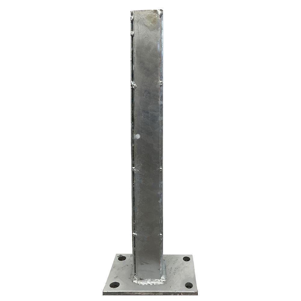 EcoStone 24 inch Zinc-Plated Galvanized Steel Gate Post Concrete Surface Mounting Bracket