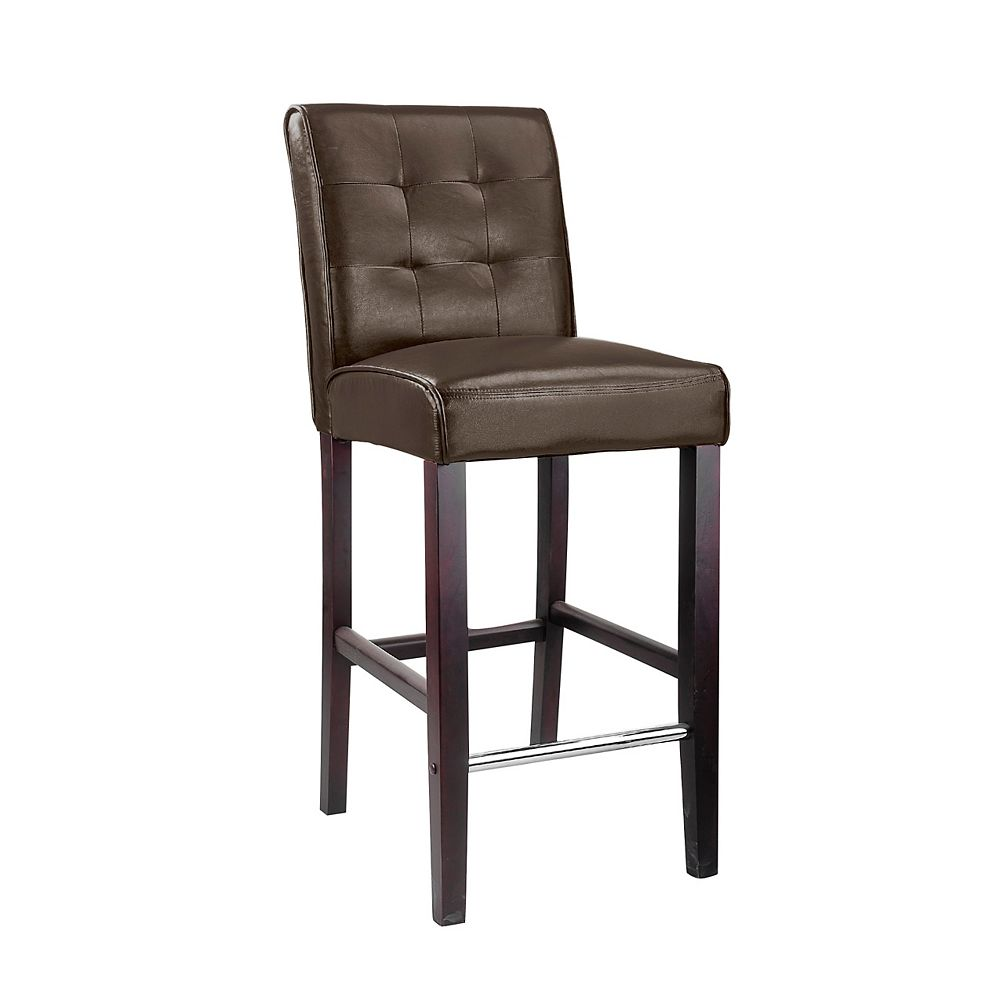 Corliving Antonio Metal Brown Contemporary Low Back Armless Bar Stool with Brown Faux Leather Seat
