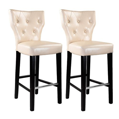 Kings Metal Brown Contemporary Low Back Armless Bar Stool with White Faux Leather Seat - (Set of 2)