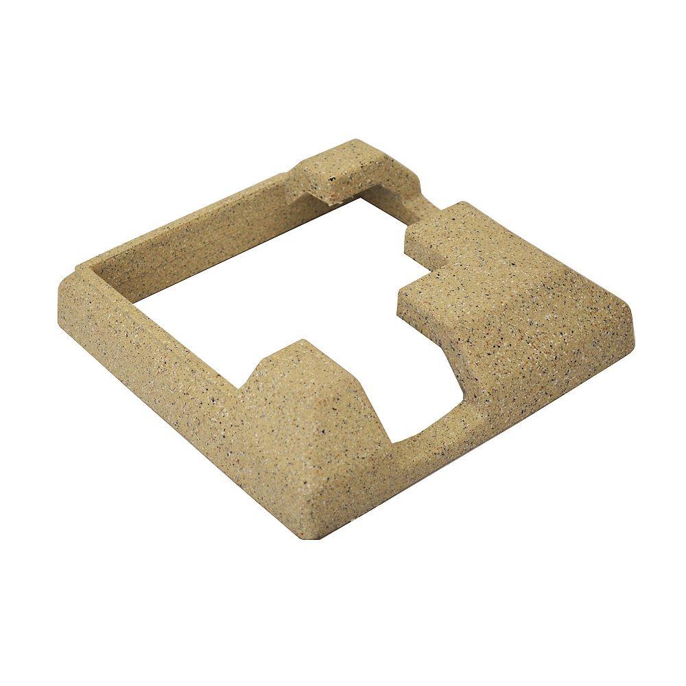 EcoStone Jupe de coin de poteau de clôture en composite beige de 5 po x 5 po pour poteau d'angle en béton