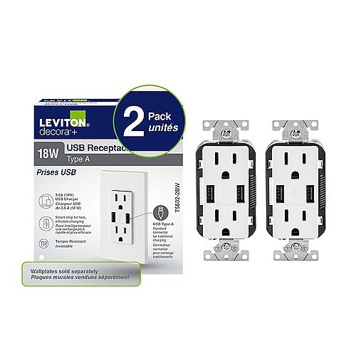 Leviton Decora Duplex 3.6 amp USB Charger and 15 amp Tamper Resistant Receptacle in White (2-Pack)