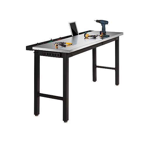 36-inch H x 24-inch D x 72-inch W Metal Workbench with Stainless Steel Top