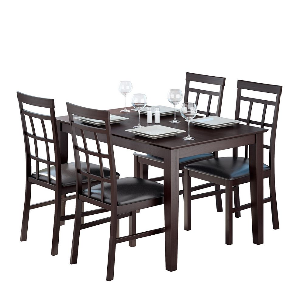 Corliving Dining Collection 5-Piece Dark Cocoa Dining Set With Lattice Back Chairs - Chocolate Black Leather