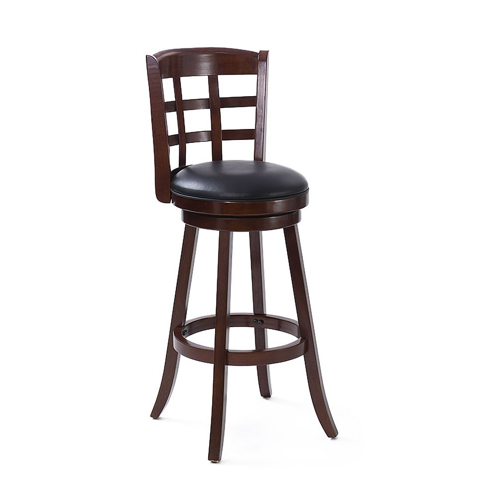 Corliving Woodgrove Solid Wood Brown Contemporary Low Back Armless Bar Stool with Black Faux Leather Seat