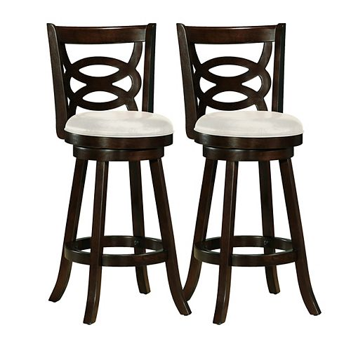 Woodgrove Solid Wood Brown Low Back Armless Bar Stool with White Faux Leather Seat - (Set of 2)