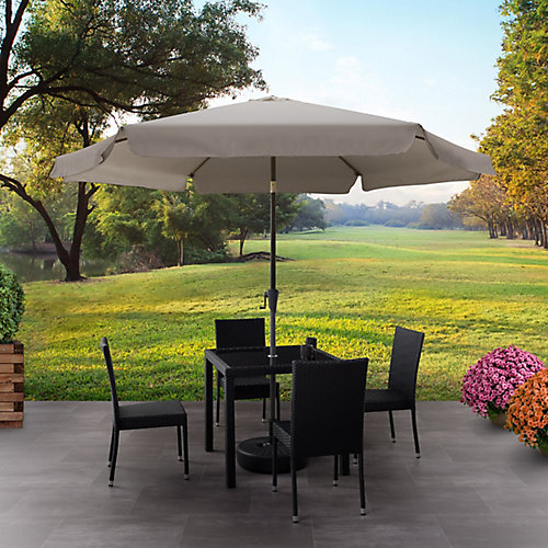 10 ft. Round Tilting Sand Grey Patio Umbrella