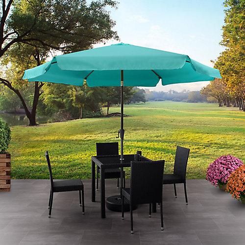 Parasol de patio rond et inclinable bleu turquoise de 10 pieds