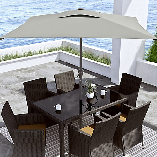 9 ft. Square Tilting Sand Grey Patio Umbrella