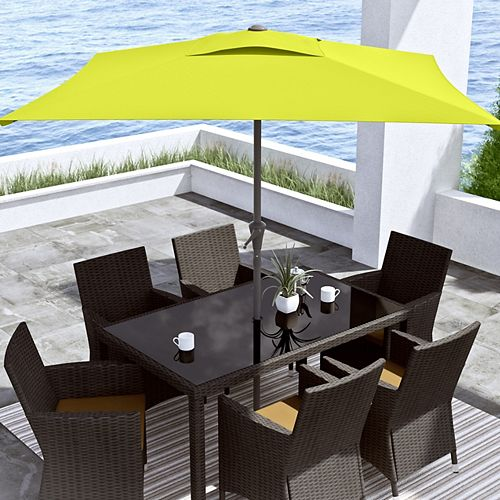 9 ft. Square Tilting Lime Green Patio Umbrella