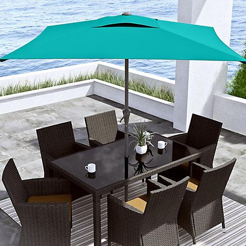 Parasol de patio carré et inclinable bleu turquoise de 9 pieds