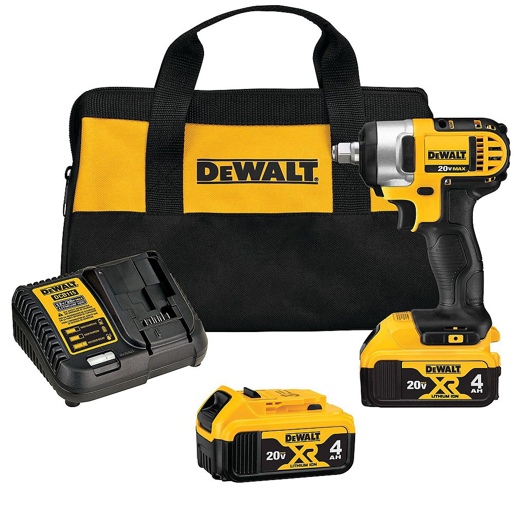 DEWALT 20V MAX Lithium-Ion Cordless 1/2-inch Impact Wrench Kit with (2) Batteries 4Ah, Charger and Tool Bag