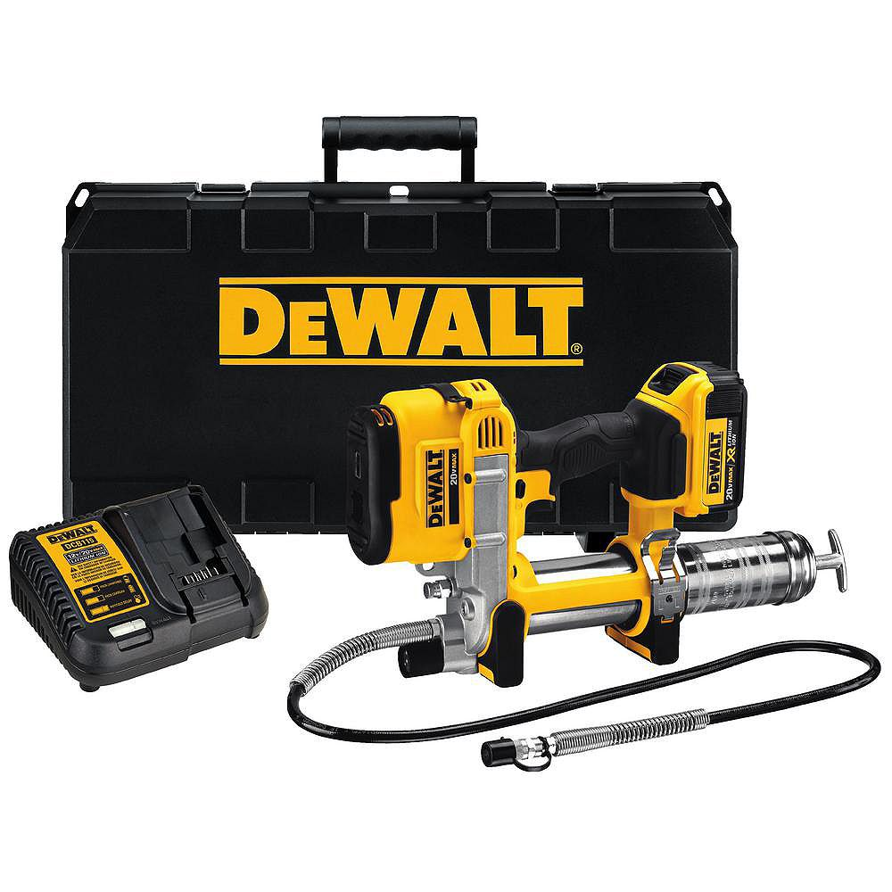 DEWALT 20V MAX Lithium-Ion Cordless Grease Gun Kit with 4Ah Battery, Charger and Case