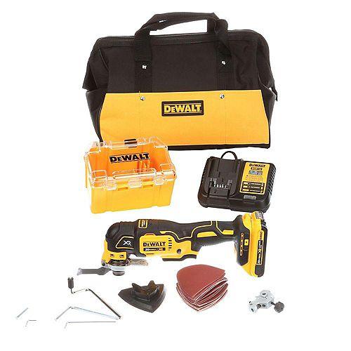Kit multi-outils oscillant sans balais 20V MAX XR au lithium-ion avec batterie 2Ah, chargeur et sac de chantier