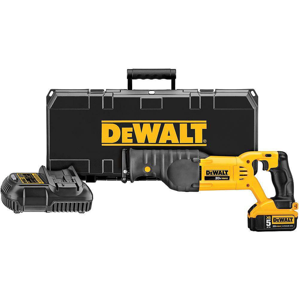 DEWALT 20V MAX Lithium-Ion Cordless Reciprocating Saw Kit with Battery 5Ah, Charger and Case