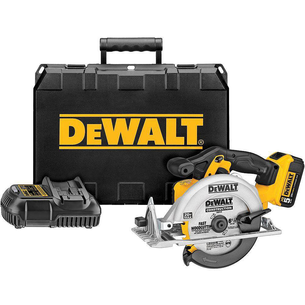 DEWALT 20V MAX Lithium-Ion Cordless Circular Saw Kit with Battery 5Ah, Charger and Case