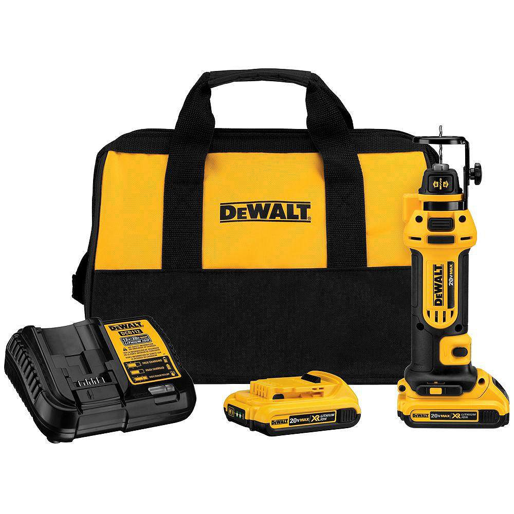 DEWALT 20V MAX Lithium-Ion Cordless Drywall Cut-Out Tool Kit with (2) Batteries 2Ah, Charger and Contractor Bag