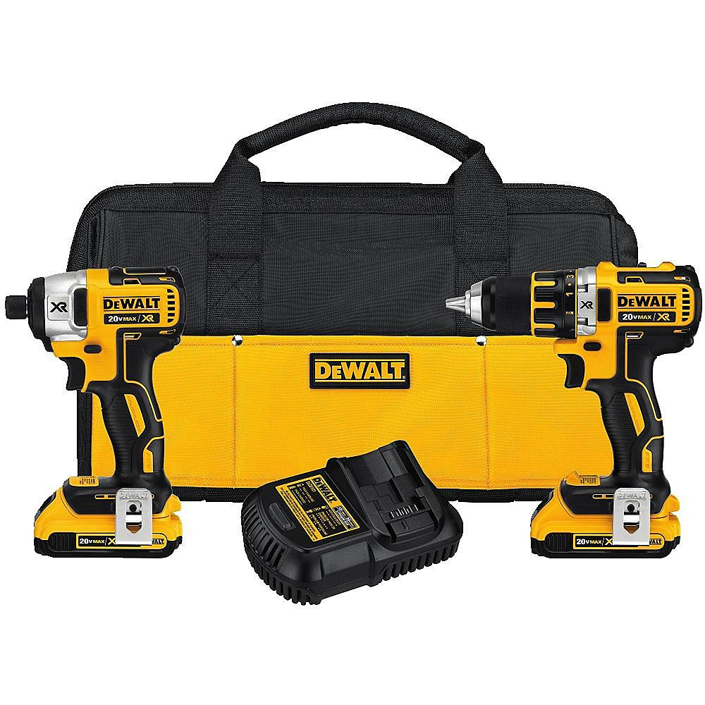DEWALT 20V MAX XR Two-Piece Combo Kit with Two Batteries and Bag