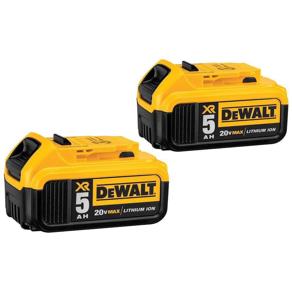 DEWALT 20V MAX XR Lithium-ion Premium Battery Pack 5.0Ah (2-Pack)