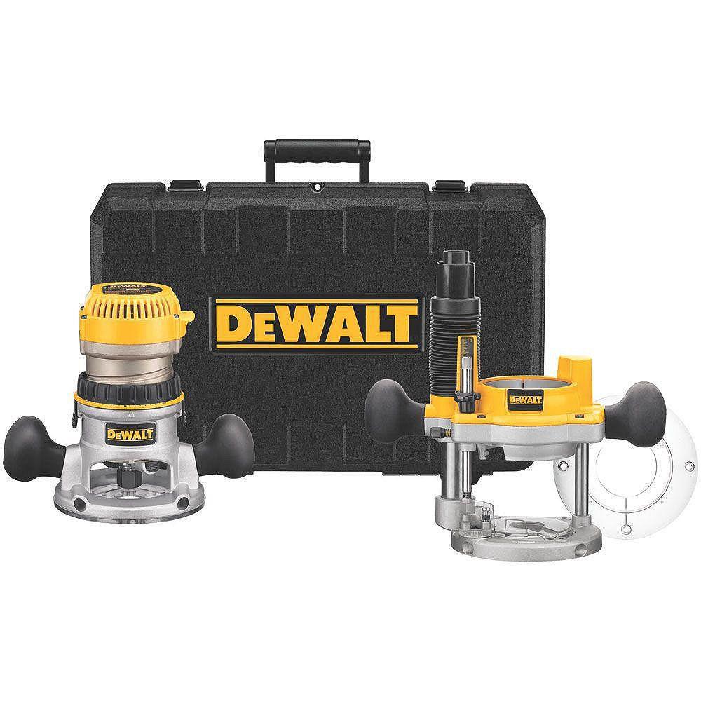DEWALT 2-1/4 HP Electronic Variable Speed Fixed Base and Plunge Router Combo Kit with Soft Start