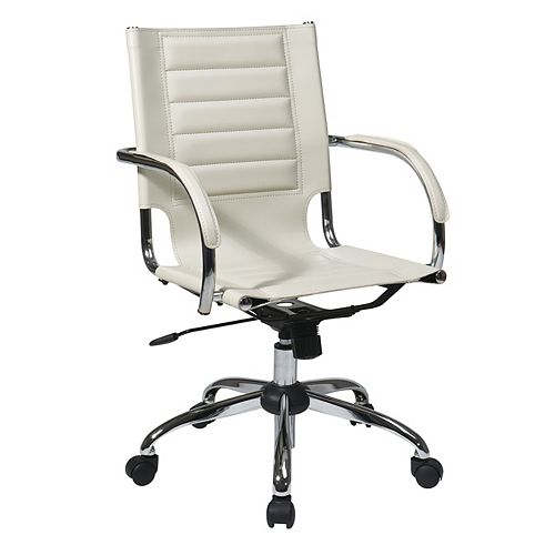 Cream Trinidad Office Chair with Padded Arms and Chrome Accents