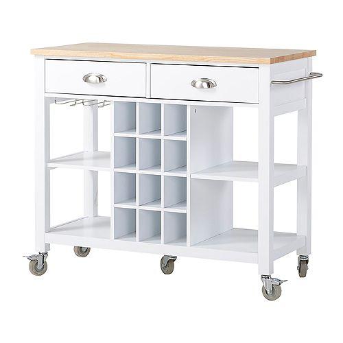 Wide Kitchen Island Cart in White
