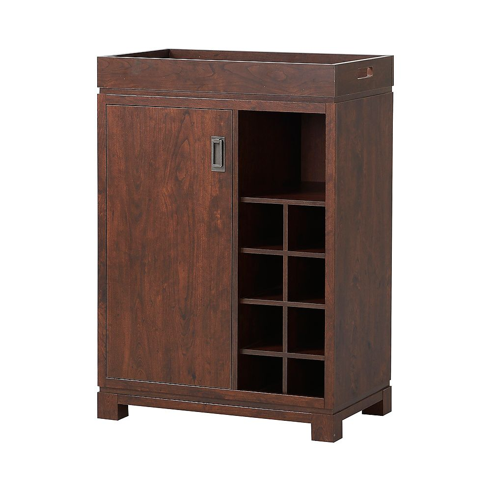 Homestar Wine Cabinet in Brown with Removable Top Tray