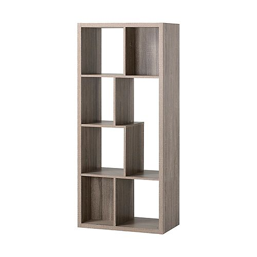 26-inch x 59.10-inch x 14.97-inch 7-Shelf Manufactured Wood Bookcase in Grey