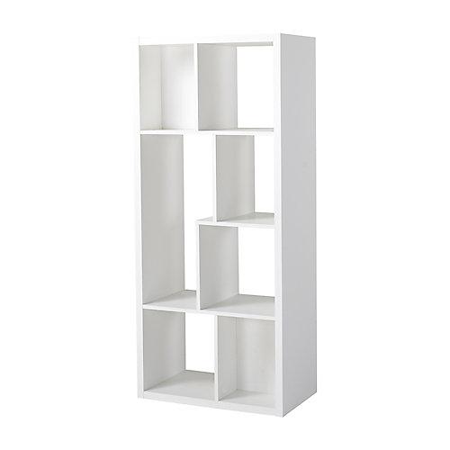 26-inch x 59.10-inch x 14.97-inch 7-Shelf Manufactured Wood Bookcase in White