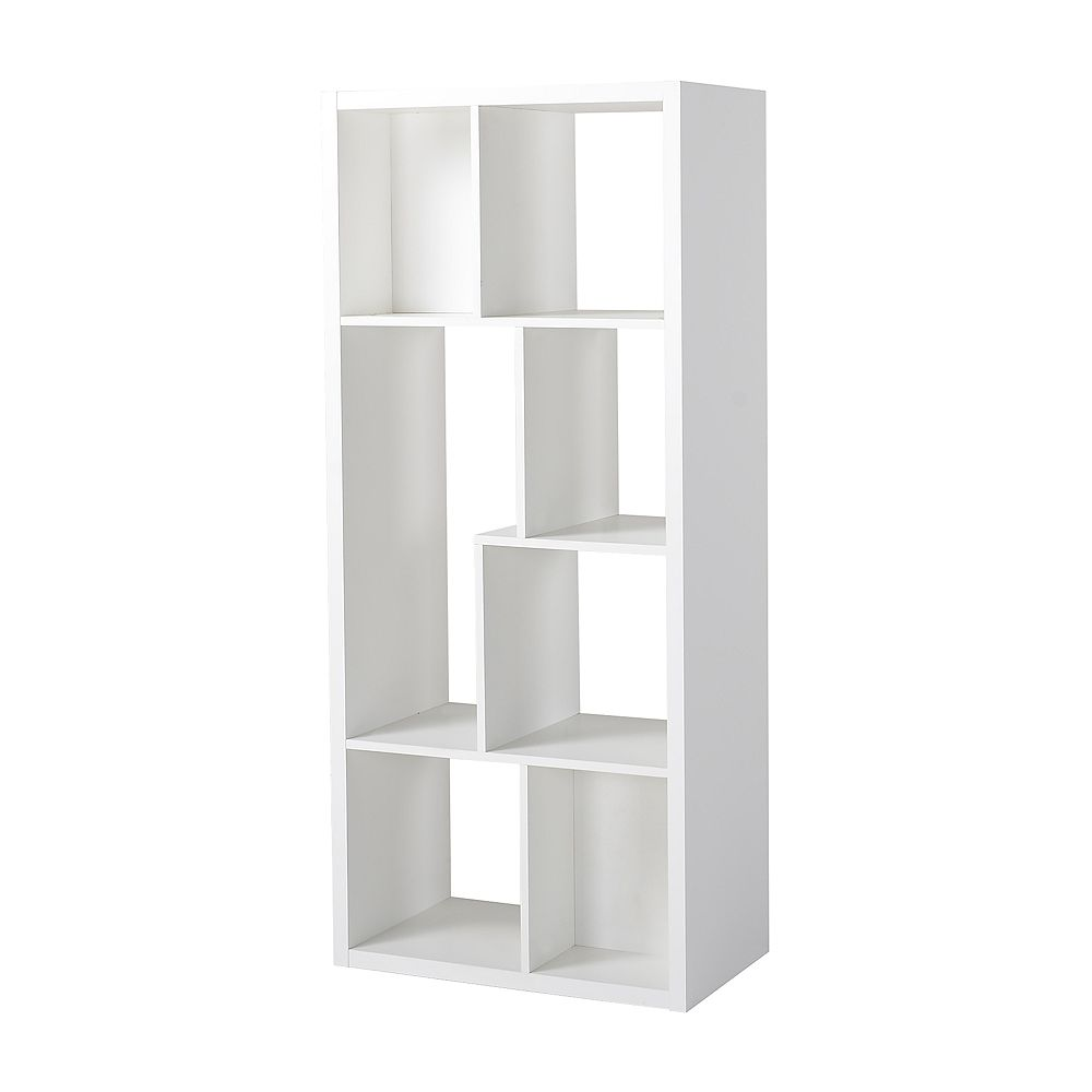 Homestar 26-inch x 59.10-inch x 14.97-inch 7-Shelf Manufactured Wood Bookcase in White