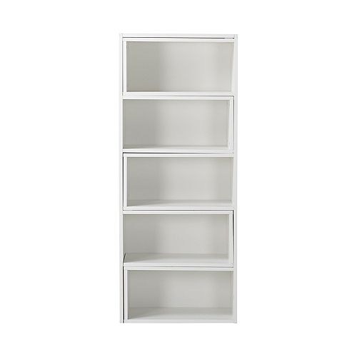 23.72-inch x 58.71-inch x 11.93-inch Manufactured Wood Bookcase in White