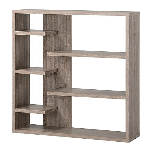 43.34-inch x 43.22-inch x 11.03-inch Manufactured Wood Bookcase in Grey